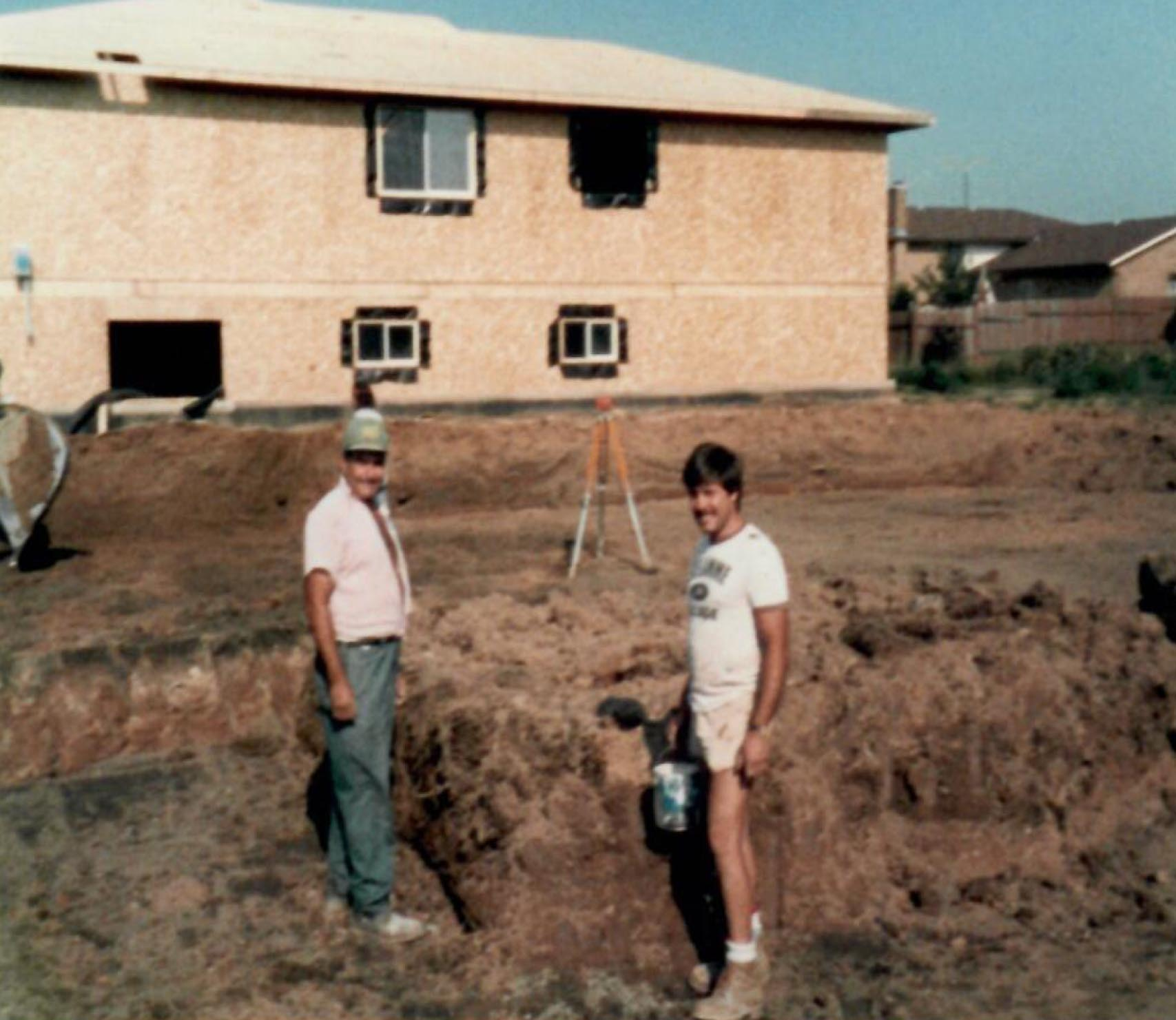 1987 - Gabriele and Domenico laying out basement