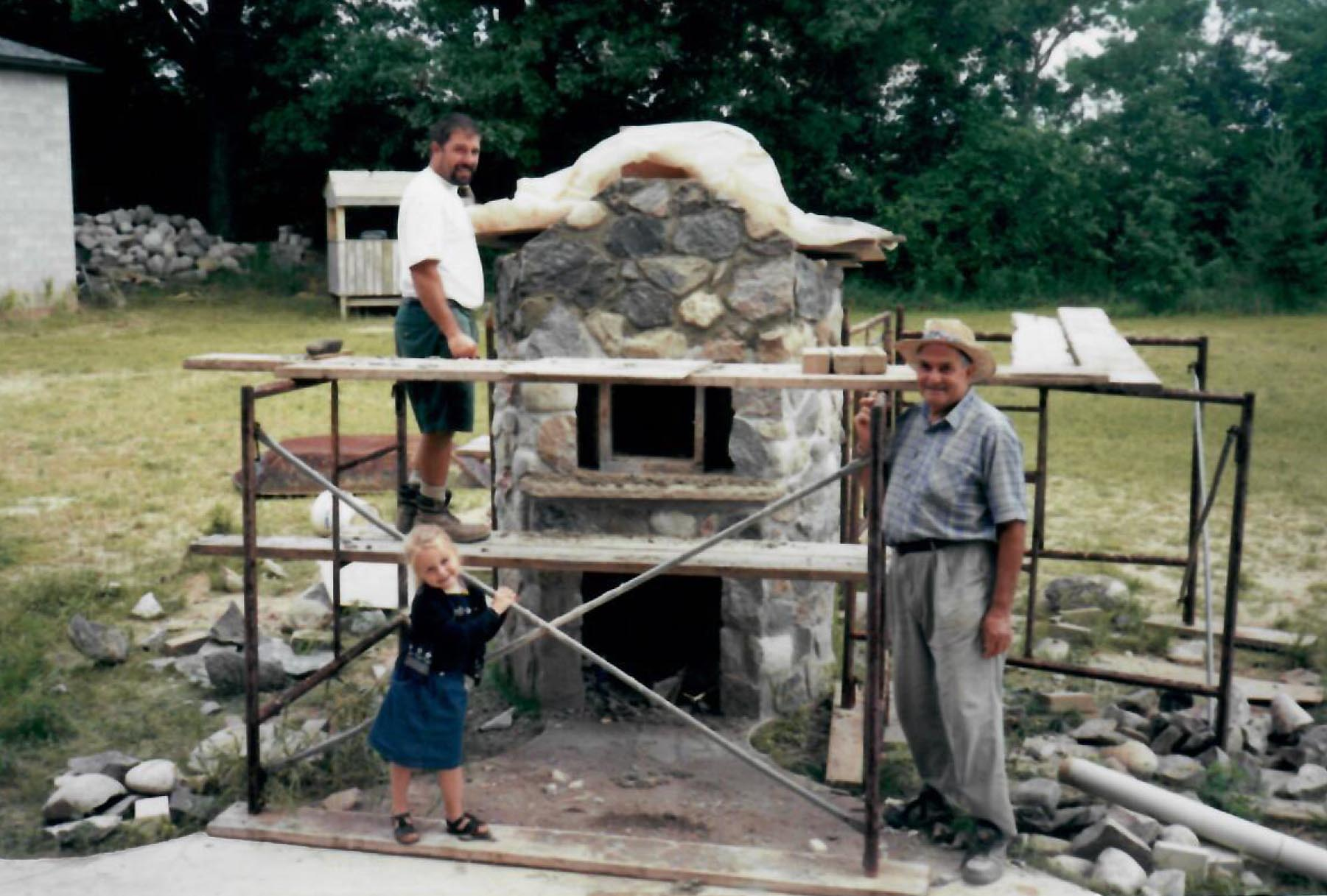 2000s - Domenico and Gabriele building wood oven
